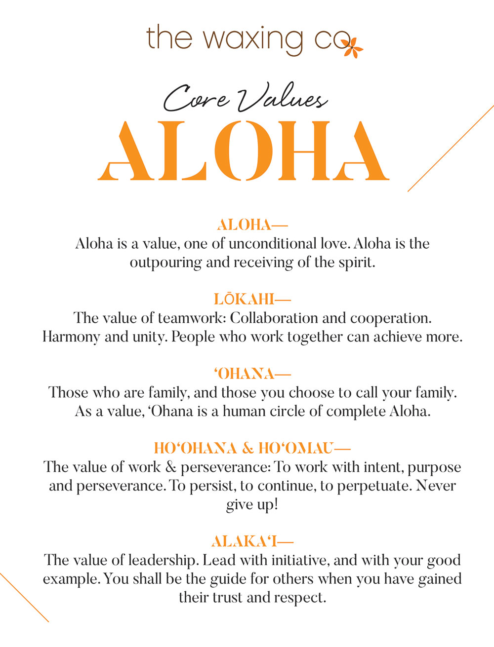 The waxing co core values for the waxing company
